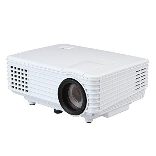 Excelvan Mini-Beamer, LED, tragbar, Multimedia für Heimkino, HDMI / USB / AV / VGA / ATV / 3,5 mm, Audio-Ausgang, Auflösung 800 x 480 – Weiß