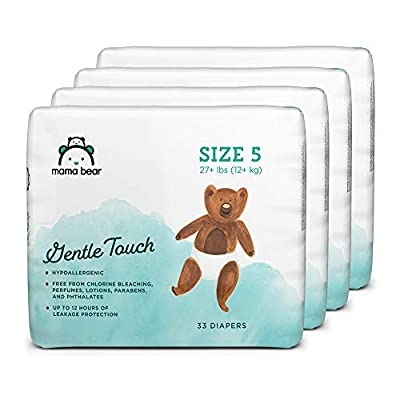 Amazon Brand - Mama Bear Gentle Touch Diapers, Hypoallergenic, Size 5, 132 Count (4 packs of 33)