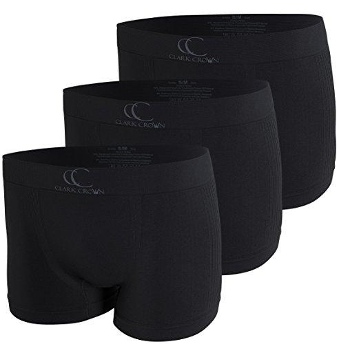 Clark Crown 3er Pack Herren Seamless Boxershorts-Retorshorts (L/XL, 3er Pack Schwarz - Rippstruktur)