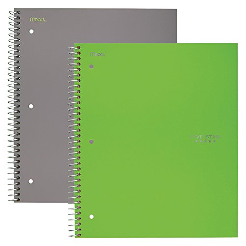 """Five Star Spiral Notebooks, 1 Subject, Wide Ruled Paper, 100 Sheets, 10-1/2"""" x 8"""", Gray, Lime, 2 Pack (38426)"""