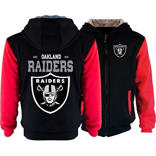 MFsports NFL Oakland Raiders Ziphood Herren Sweatjacke Winter Kapuzenjacke Hoodie Mit Kapuze Reißverschluss Kapuzenpullover Sweatshirt