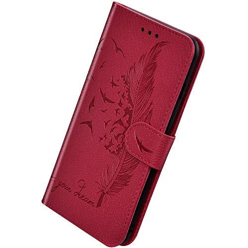 Herbests Kompatibel mit Huawei Y7 2019 Hülle Ledertasche Vintage Feder Vogel Muster Schutzhülle Brieftasche Klapphülle Dünne Lederhülle Wallet Handyhülle mit Kartenfach Ständer,Rot