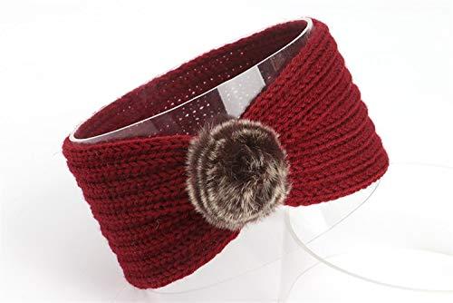 Wild haarband 2-delige Women's gebreide haarband haarbal Haak Warm Warm Ademende hoofdband haaraccessoires (Color : Wine red)