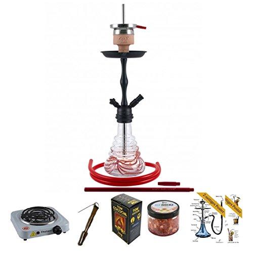 AMY Shisha Set mit Shisha Deluxe Stillness klick II (Red/Black Powder) inkl. Kohleanzünder, Naturkohle, Kaminkopf, Dampfsteine, Premium-Poster Shisha&Cocktails - Geschenkset