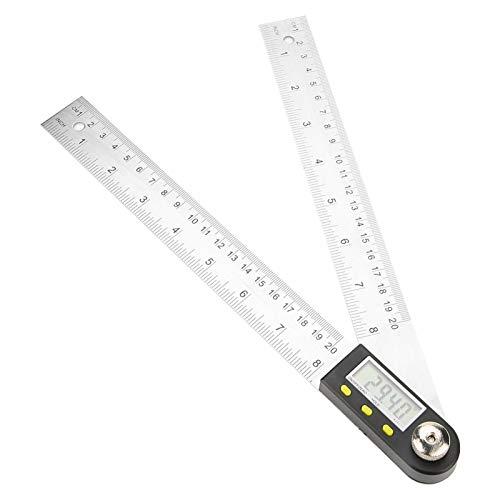 Akozon Medidor de ángulos digital 0-360 ° 0-200 mm IP54 Transportador electrónico de acero inoxidable Detector de �ngulo de Prolongador