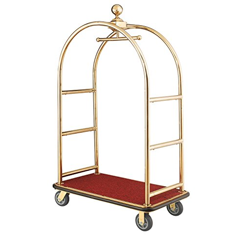 Gold Stainless Steel Bellman Cart Curved Uprights 6' Rubber Casters, 41-1/4'L x 24'W x 73'H