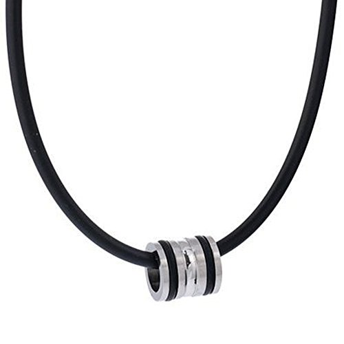 DonDon - Collar de Caucho y Colgante de Acero Inoxidable con Anillas de Caucho (Incluye bolsita Aterciopelada Negra)