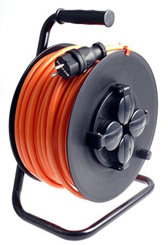 Profi Kabeltrommel outdoor IP44 Außen mit 4 Steckdosen H07BQ-F Pur-Leitung 3g2,5 35m schwarz