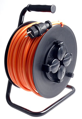 Profi Kabeltrommel outdoor IP44 Außen mit 4 Steckdosen H07BQ-F Pur-Leitung 3g2,5 40m schwarz