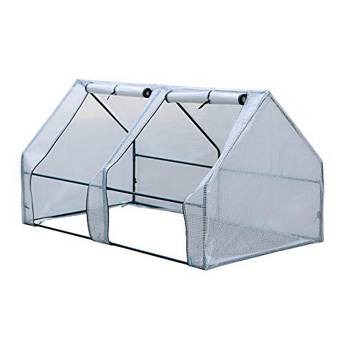 Gewächshaus Pflanzenhaus, Foliengewächshaus Tomatenhaus Garten Treibhaus mit 4 Fenster | Folientunnel Folienhaus Folienzelt vor Kälte, Regen, Hagel, Wind und Frost