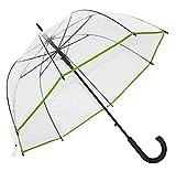 Baciami Paraguas Cúpula Transparentes  90cm Automatico - Paraguas de Domo Grande Trasparente - Mujer Hombre Niños -Verde