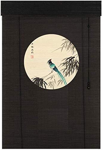 L&WB bamboe jaloezieën houten kleur schaduw met Valance, tuin patio paviljoen buitenkant zwart verduisteringsgordijn, 60 Cm / 80 Cm / 100 Cm / 120 Cm / 140 Cm