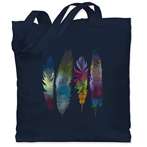 Shirtracer Kunst & Kreativität - Federn Wasserfarbe Watercolor Feathers - Unisize - Navy Blau - jutebeutel wasserfarben - WM101 - Stoffbeutel aus Baumwolle Jutebeutel lange Henkel