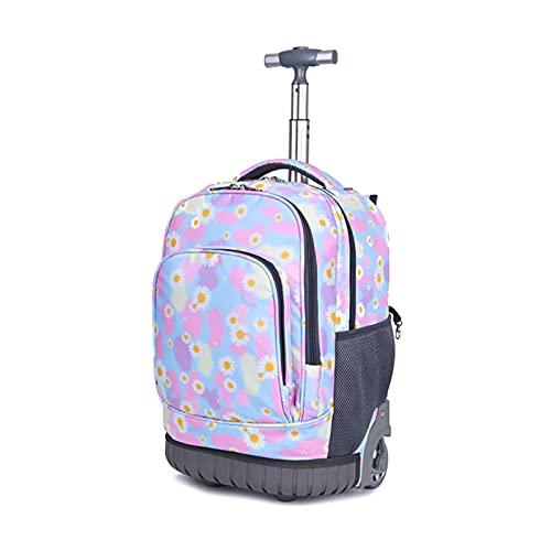 JKIOHO Mochila con ruedas de 19 pulgadas, con asa enrollable, para niños y niñas, de viaje, Barbie Rosa,
