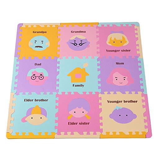 Firlar Foam Puzzle Play Mat|Baby Playmat met 9 Zachte Interlocking Vloertegels voor zuigelingen, Peuters |Kids Great Mats voor Kruipen en Spelen, 9Pcs, Familielid