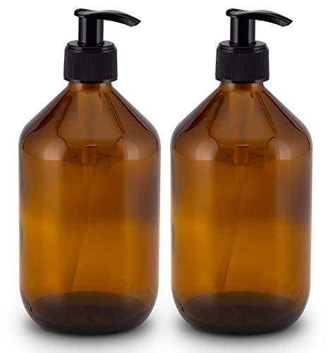 Lifestyle Lover Seifenspender aus Braunglas, Bernsteinfarben für Seife Spüli Shampoo Lotionen Braun Glas 2X 500ml