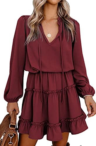 AMABILEMIA Vestito Sexy Donna Mini Abito Elegante Maniche Lunghe Vestito Corto da Sera Svasato Vestitino Casual Scollo a V Cocktail DS223207 (Rosso Vino, l)