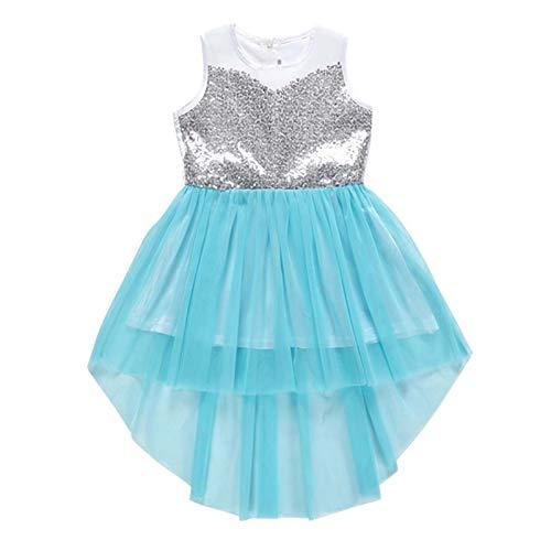 EZ Tuxedo Toddler Girls Dress Sleeveless Dresses Sequin Mesh Pageant Party Wedding Princess Dresses Sky Blue