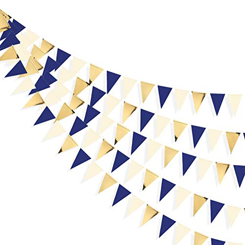 30 Ft Navy Blue Beige Gold Party Decorations Hanging Paper Triangle Flag Pennant Banner Bunting Garland for Bachelorette Engagement Wedding Birthday Bridal Shower Anniversary Hen Party Supplies