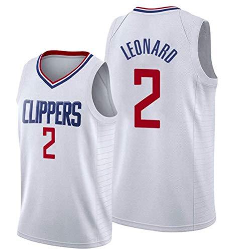 Rencai Kawhi Leonard Jersey # 2 del Baloncesto de los Hombres, Clippers Nueva Tela Alero Mangas de la Camisa de los Jerseys de Los Ángeles (Color : 2, Size : M)