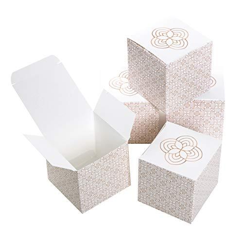 Logbuch-Verlag kleine geschenkdoos beige goud wit gastgeschenk bruiloft verpakking Give Away Mini doos met deksel Sieradendoos Vouwdoos 7 x 7 cm 10 Stück beige