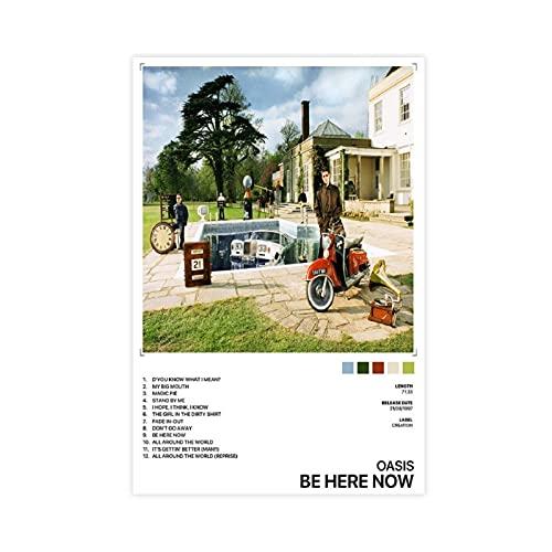 Oasis Be Here Now - Poster su tela, decorazione da parete, per soggiorno, camera da letto, decorazione senza cornice, 60 x 90 cm