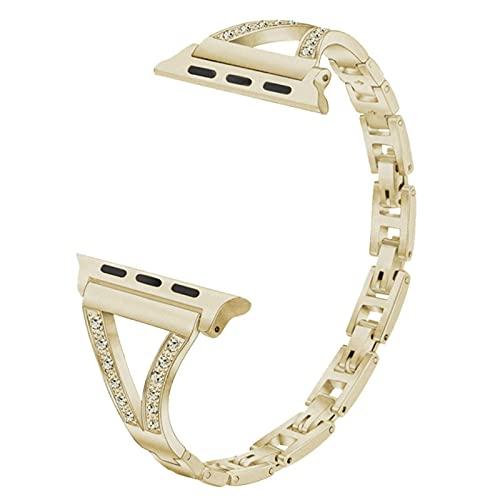 Pulsera de diamantes para Apple Watch Series SE / 6/5/4/3/2/1 Correa de metal para mujer para iWatch-Champagne dorado, 42 mm