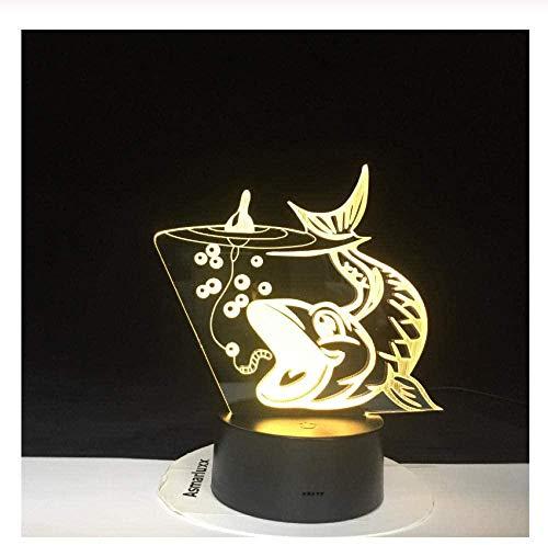 3D LED Big Fish zum Fangen der Leuchte USB Night Light Decor für Angler Enthusiasten Geschenke Farben Ändern der Schlafzimmer Tischlampe