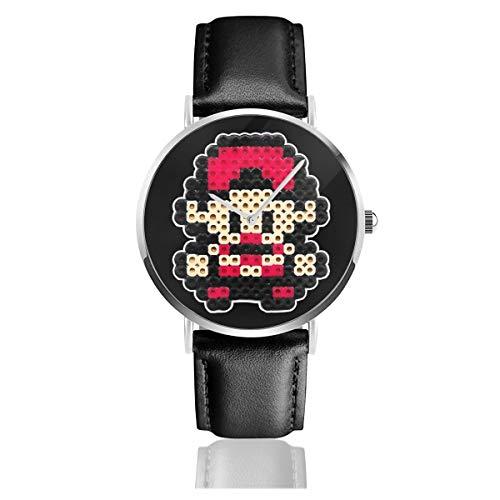 Unisex Business Casual Monster of The Pocket Trainer Ash 8bit Pixel Character Bead Uhren Quarz Leder Armbanduhr mit schwarzem Lederband für Männer Frauen Junge Kollektion Geschenk