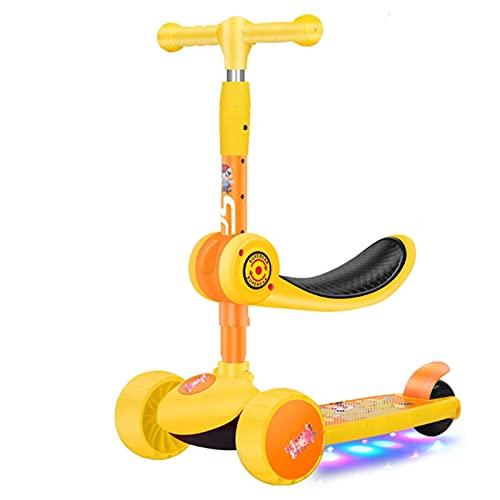 Patada scooters Scooter De Scooter De 3 Ruedas Para Niños Pequeños Con Asiento Y Música De Altura Ajustable Plegable Para Juguete Deportivo Infantil Edad 2-10 Sistema de plegado de liberación rápida