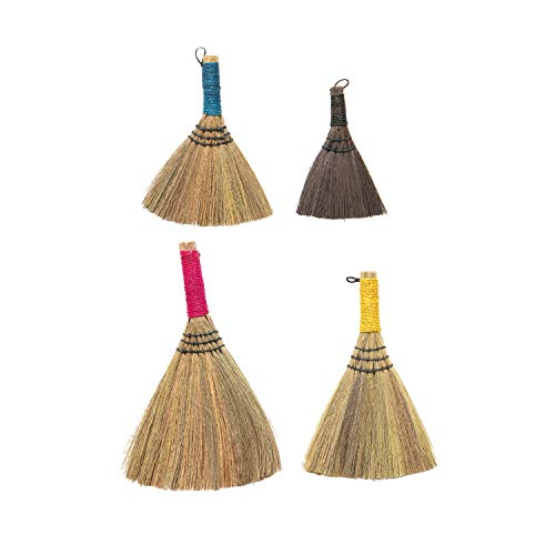 Creative Co-Op Yarn Wrapped Handles, Multi Color Brights, Set of 4 Whisk Broom, Brown, 4