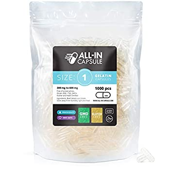ALL-IN Capsule - Size 1 Clear Empty Gelatin Capsules - 1000 Count and Compatible with Capsule Filling Machine - Fillable with Powders of Your Choice