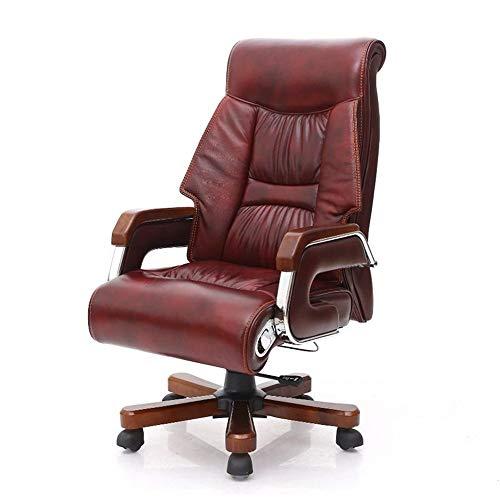 Xiaolizi Hoogwaardige ergonomische bureaustoel, PU-leer, bruin gebeitst, 7 punten, massagestoel, voetenbankje, ergonomisch, ideaal voor thuiskantoor