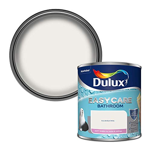 Dulux 500001 Easycare Bathroom Soft Sheen Emulsion Paint For Walls And Ceilings - Pure Brilliant White 1L