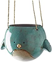 "Bluebird Hanging Planter Pot - Ceramic - 7"" Diameter"