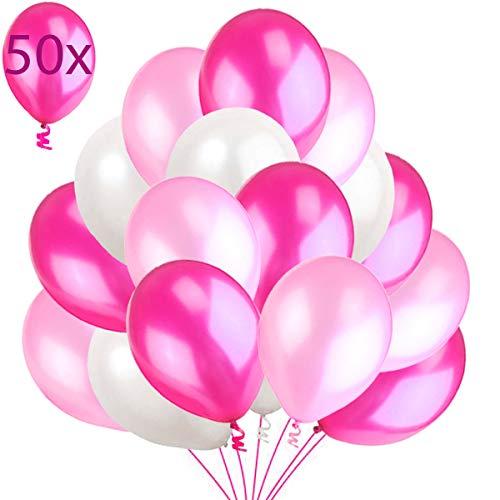 50 Globos Rosa Blanco y Fucsia Brillante de Látex de 36 cm. Globos de Helio de 3,2g. Decoraciones y Accesorios para Fiesta de Cumpleaño, Bautizo y Boda