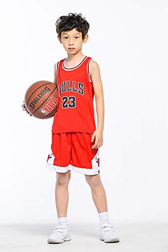MULANKA Kinder NBA Trikot Michael Jordan 23 Trikot Chicago Bulls Trikot Kinder #23 Basketball Trikot atmungsaktive, verschleißfeste, Rot Basketball Spieluniform
