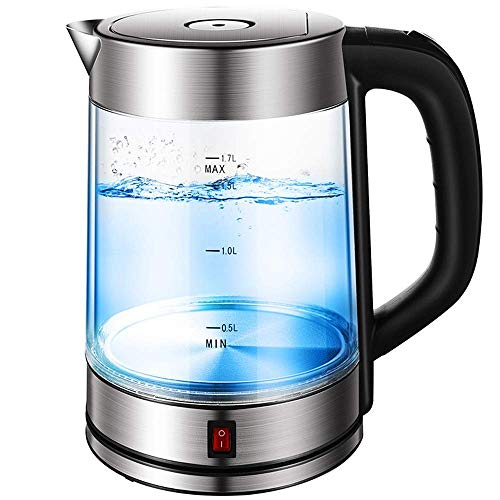 LIUCHANG Hervidor electrico 1850W, hervidor de Agua con 1,7 litros de Cristal Iluminado con LED Azul, Ministerio del Interior rapida Hervir Te hervidor de Agua, BPAFree liuchang20