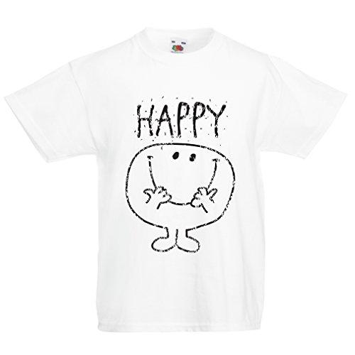 lepni.me T-shirt voor jongens/meisjes, glimlach en wees gelukkig! Geluksgevoel opdruk, glimlach emoji-gezicht