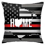 Home State – Ohio USA Flagge quadratischer Kissenbezug Wurfkissenbezug für Auto dekorativer Kissenbezug für Zuhause 45,7 x 45,7 cm