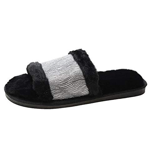 Zquest Zapatillas Hombre, Zapatillas de Felpa para Mujer de Talla Grande, Zapatillas cómodas para otoño e Invierno-Black_38-39