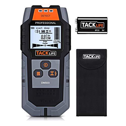 Leitungssucher TACKLIFE DMS03, 4 in1 Metalldetektor Wand Scanner, Ortungsgerät für Holzbolzen/Metall/Live-AC-Kabel mit Großer LCD-Display