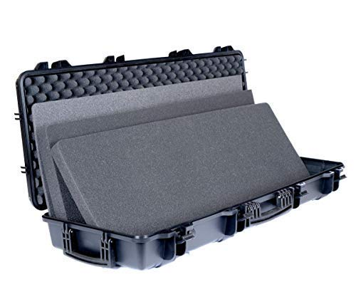 Cedar Mill Firearms - Slim Double Rifle Carbine Case for Scoped Rifles 2 Guns/Shotgun | Tactical SOCOM Black | Perfect Hard case Safe Airsoft Accessories with Wheels, Carry Handle, Lockable