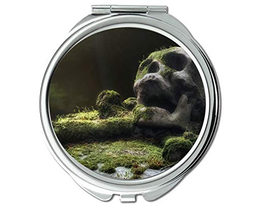 Yanteng Spiegel, Kompaktspiegel, Totenkopf Moos dunkel, Taschenspiegel, 1 X 98X Vergrößerung