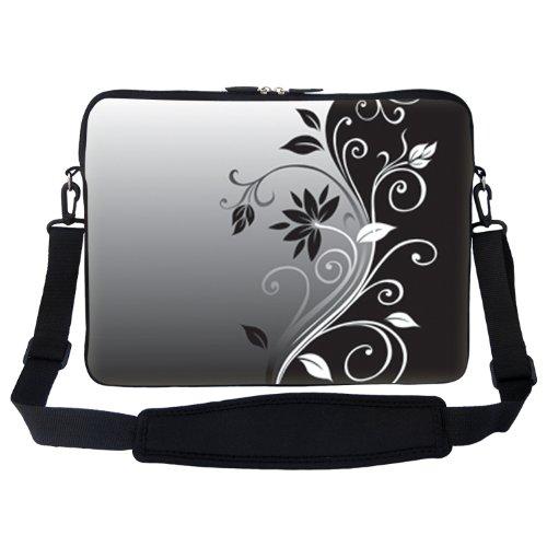 Meffort Inc 17 17.3 inch Neoprene Laptop Sleeve Bag Carrying Case with Hidden Handle and Adjustable Shoulder Strap - Gray Black Swirl
