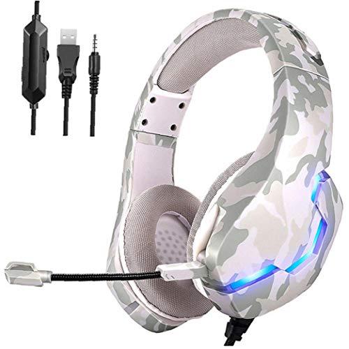 Auricular para juegos con cable largo de los auriculares del RGB LED profesional PS4 con micrófono de 3,5 mm de auriculares para el ordenador portátil de la tableta Móvil blanca