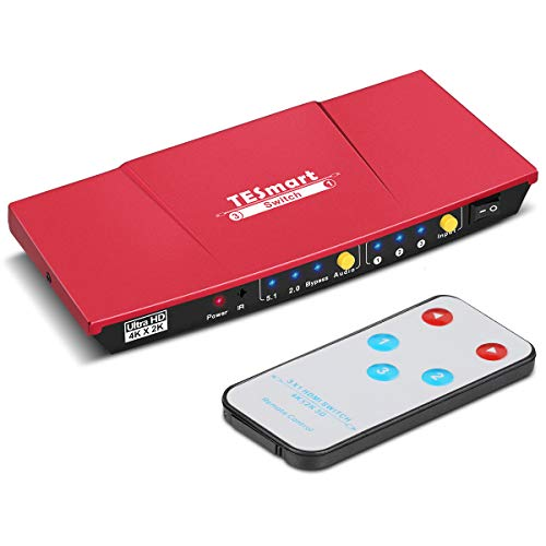 TESmart HDMI Switch 3 In 1 out Conmutador 4K@30Hz Switcher Box con Salida de Audio Soporte 3D 2K 1080P Resolución para PS4 PS3 Xbox BLU-Ray DVD HDTV Projector (Rojo)