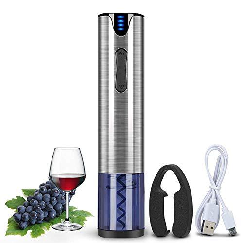 Ashey Flasche automatisch Öffner, elektrische Dosenöffner und Wein, Wiederaufladbare Automatische Korkenzieher, Wein Flaschenöffner mit Folienschneider & USB-Ladekabel Edelstahl