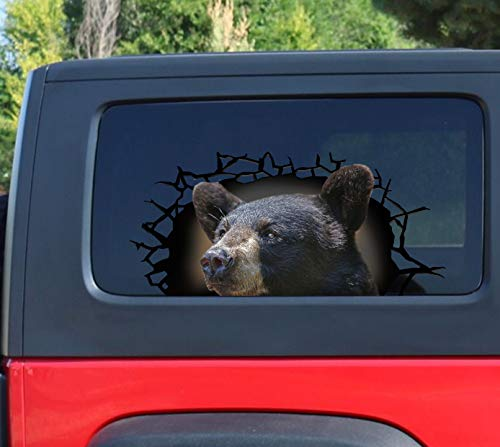 20 Inches Black Bear 3D Sticker Cracked Window Decal Black Bear Decal PVC 3D Car Stickers