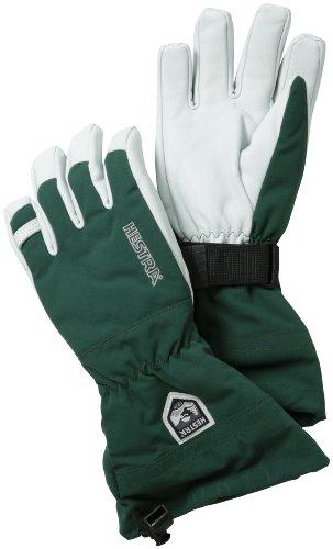 Hestra–Guantes de heliesquí de Cuero Militar con guantelete, Hombre Mujer, Color Verde, tamaño 9
